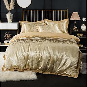 cheap High Quality Duvet Covers-Duvet Cover Sets Luxury 100% Cotton / Silk / Cotton Blend Jacquard 4 PieceBedding Sets / 300 / 4pcs (1 Duvet Cover, 1 Flat Sheet, 2 Shams)