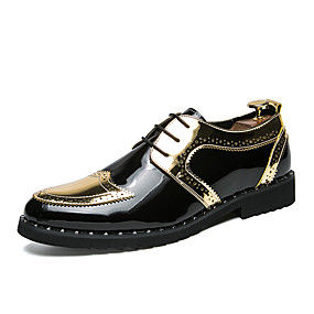 voordelige Wijdere maten schoenen-Heren Comfort schoenen Lakleer / Synthetisch Herfst winter Brits Oxfords Kleurenblok Zwart / Goud / Zilver / EU40