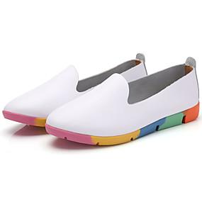 voordelige Damesschoenen met platte hak-Dames Platte schoenen Platte hak Ronde Teen Leer Comfortabel Herfst Wit / Zwart / Geel / Kleurenblok