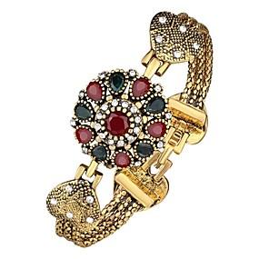 baratos Pulseiras Vintage-Mulheres Bracelete 3D Flor senhoras Clássico Vintage Strass Pulseira de jóias Dourado Para Diário