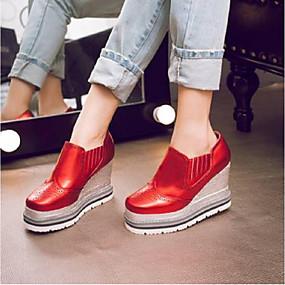 voordelige Damesinstappers & loafers-Dames Loafers & Slip-Ons Creepers Nappaleer Comfortabel Lente zomer Zilver / Rood