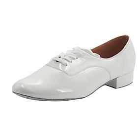 billige Moderne sko-Gutt Moderne sko Lakklær Høye hæler Tykk hæl Dansesko Hvit