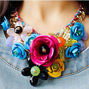 cheap Big Discount For Summer-Women's Multicolor Statement Necklace Bib necklace Braided Bib Flower Ladies Luxury Chunky Color Synthetic Gemstones Alloy Green Pink Rainbow Necklace Jewelry 1pc For Party Special Occasion Birthday