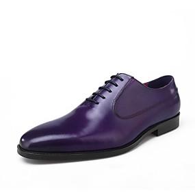 voordelige Wijdere maten schoenen-Heren Comfort schoenen Leer Lente / Zomer Oxfords Zwart / Paars / Bruin