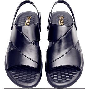 povoljno Muške sandale-Muškarci Udobne cipele Koža Ljeto Ležerne prilike Sandale Crn / Braon