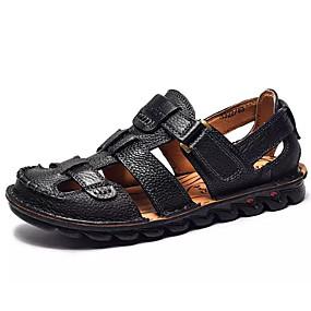 baratos Sandálias Masculinas-Homens Sapatos Confortáveis Pele Verão Sandálias Preto / Castanho Escuro