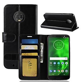 voordelige Mobiele telefoonhoesjes-hoesje Voor Motorola MOTO G6 / Moto G6 Play Portemonnee / Kaarthouder / Flip Volledig hoesje Effen Hard PU-nahka voor Moto X4 / MOTO G6 / Moto G6 Play