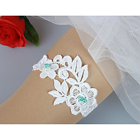 billige Strømpebånd til bryllup-Blonder Blonde / folk Style Bryllupsklær Med Imitasjonsperle / Blomst / Solid Strømpebånd / Unik bryllupsdekor Bryllup / Engasjement