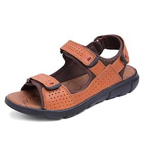 baratos Sandálias Masculinas-Homens Sapatos Confortáveis Pele Napa Verão Sandálias Preto / Marron / Vermelho Escuro