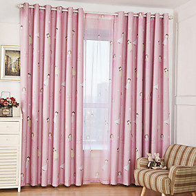 cheap Kids Curtains-Blackout Curtains Drapes Two Panels Kids Room Cartoon Polyester Printed