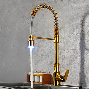 abordables Spray Amovible-Robinet de Cuisine - Mitigeur un trou Ti-PVD Pull-out / Pull-down / Débit Normal / Grand / Haut Arc Set de centre Moderne Kitchen Taps