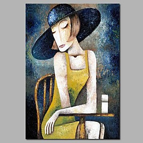 cheap Others-Oil Painting Hand Painted - Abstract People Modern Stretched Canvas