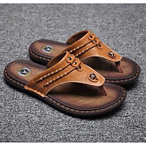 povoljno Muške papuče i japanke-Muškarci Udobne cipele Koža Ljeto Papuče i japanke Crn / Bijela / Plava