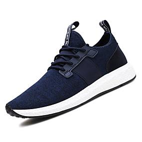 baratos Sapatos Esportivos Masculinos-Homens Sapatos Confortáveis Com Transparência / Tecido elástico Outono Esportivo Tênis Corrida Não escorregar Estampa Colorida Preto / Cinzento / Azul