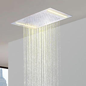 cheap Top Sellers-Stainless Steel 304 110V~220V Alternating Current Bathroom Rainfall Shower Head With Energy Saving LED Lamps