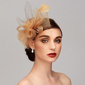 billige Prepare-se Para o Carnaval-Fjær / Nett Kentucky Derby Hat / fascinators / Hodeplagg med Fjær / Blomster / Blomst 1pc Bryllup / Spesiell Leilighet Hodeplagg