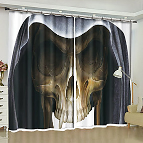 cheap Holiday Decorations-Halloween 3D Curtains Two Panels Curtain / Blackout / Bedroom