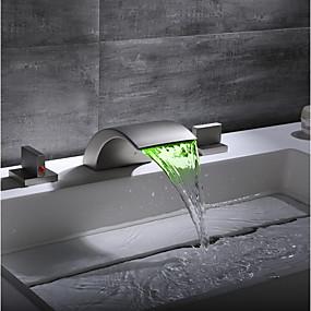 billige Ugentlige tilbud-Baderom Sink Tappekran / Kransett - Foss / Bedårende Nikkel Børstet Udspredt To Håndtak tre hullBath Taps / Messing