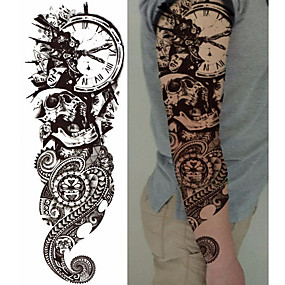 cheap Temporary Tattoos-3-pcs-decal-style-temporary-tattoos-temporary-tattoos-totem-series-flower-series-smooth-sticker-eco-friendly-disposable-body-arts-body-arm-leg