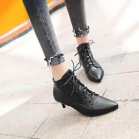voordelige Wijdere maten schoenen-Dames Fashion Boots Imitatieleer Herfst winter Laarzen Kleine hak Gepuntte Teen Korte laarsjes / Enkellaarsjes Wit / Zwart / Rood