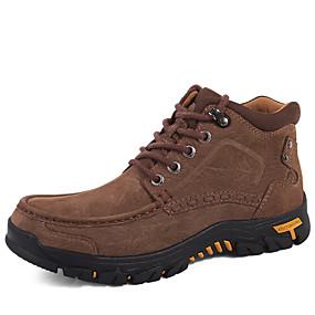 baratos Botas Masculinas-Homens Sapatos de couro Pele Napa Inverno Esportivo / Casual Botas Aventura / Caminhada Manter Quente Botas Curtas / Ankle Preto / Castanho Escuro / Khaki
