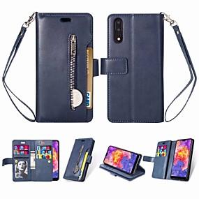 290fcb099e6ae غطاء من أجل Huawei P20 مع حامل   قلب   مغناطيس غطاء كامل للجسم لون سادة  قاسي جلد PU إلى Huawei P20