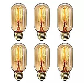 billige Glødelampe-6 stk dimmable t45 40w e27 varm hvit farge dekorative retro glødende vintage edison pærer ac220-240v