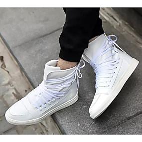 baratos Tênis Masculino-Homens Sapatos Confortáveis Couro Ecológico Primavera & Outono Tênis Preto / Branco / Vermelho