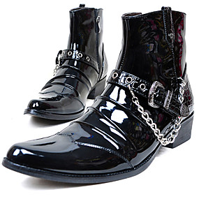 baratos Botas Masculinas-Homens Fashion Boots Couro Envernizado Inverno Vintage / Casual Botas Manter Quente Botas Cano Médio Preto / Festas & Noite / Festas & Noite / Coturnos