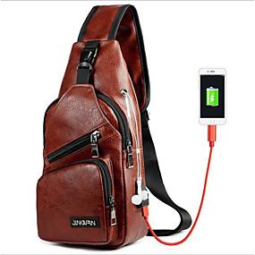 ราคาถูก Shoes & Bags-สำหรับผู้ชาย ซิป กระเป๋าสะพายสลิง กันน้ำ PU สีดำ / สีน้ำตาล / น้ำตาลเข้ม
