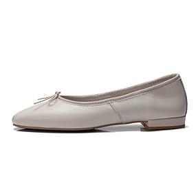 c5a95ec7afc36 نسائي أحذية الراحة Leather نابا الخريف اخفاف كعب منخفض حذاء يغطي أصبع القدم  أسود   البيج   أحمر