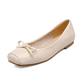 712818972c2 Women s Ballerina Patent Leather   PU(Polyurethane) Spring   Fall Flats Flat  Heel Square Toe Bowknot Black   Beige   Red