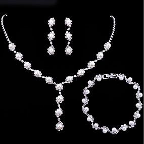رخيصةأون مجوهرات الزفاف-نسائي كلاسيكي مجموعة مجوهرات لؤلؤ تقليدي حلو, أنيق تتضمن اطقم ذهب و مجوهرات أبيض من أجل زفاف مناسب للحفلات