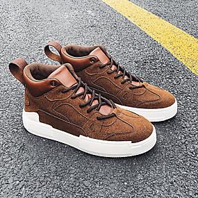 baratos Tênis Masculino-Homens Sapatos Confortáveis Couro Ecológico Outono Casual Tênis Não escorregar Verde Tropa / Amarelo / Café