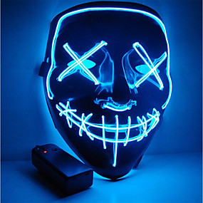 cheap Motorcyle Helmets-Halloween Mask Motorcycle Mask LED Illuminated Party Mask Clear Election Year Great Funny Mask Festival Cosplay Costume Supplies Glow in The Dark