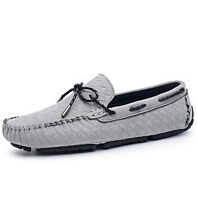 baratos Sapatos Náuticos Masculinos-Homens Mocassim Pele Outono Clássico / Casual Sapatos de Barco Manter Quente Preto / Cinzento / Khaki