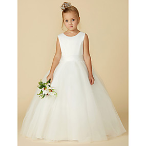 cheap Weddings & Events-A-Line Floor Length Flower Girl Dress - Satin / Tulle Sleeveless Jewel Neck with Bow(s) / Buttons by LAN TING BRIDE®