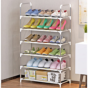 baratos Sapateiras & Cabides de Sapato-Sapateiras & Cabides Tecidos não Tecelados 6 níveis Unisexo Branco / Prata