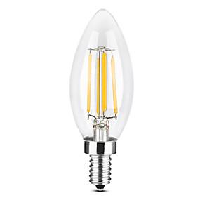 billige Stearinlyslamper med LED-YWXLIGHT® 1pc 4 W 300-400 lm E14 LED-lysestakepærer / LED-glødepærer C35 4 LED perler COB Mulighet for demping Varm hvit / Kjølig hvit 220-240 V