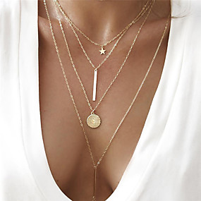 cheap -50%-Women's Coin Bar Chain Necklace Y Necklace Layered Necklace Star Ladies Bohemian European Fashion Cool Lovely Gold 40 cm Necklace Jewelry 1pc For Party / Evening Gift / Long Necklace