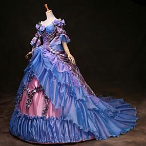 ราคาถูก ของประดับบ้าน-Cinderella เจ้าหญิง Victoria Style Rococo หนึ่งชิ้น ชุดเดรส Outfits Party Costume Masquerade สำหรับผู้หญิง เครื่องแต่งกาย สายรุ้ง Vintage คอสเพลย์ ปาร์ตี้ Prom แขนยาว 3/4