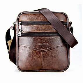 Ανδρικά Τσάντες Δερμάτινο Σταυρωτή τσάντα Φερμουάρ Μαύρο   Καφέ 77f1e32f377