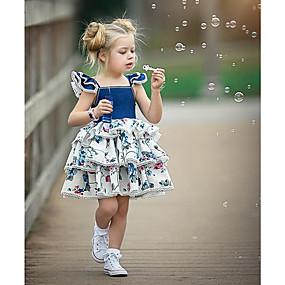 povoljno Prepare-se Para o Carnaval-Dijete Djevojčice Aktivan / Ulični šik Party / Kamado roštilj Blue & White Cvjetni print Vezanje straga / Print Bez rukávů Regularna Normalne dužine Iznad koljena Pamuk Haljina Plava