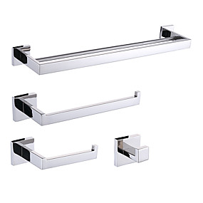 cheap Bath Accessories-Bathroom Accessory Set Contemporary Stainless Steel 4pcs - Hotel bath Toilet Paper Holders / Robe Hook / tower bar