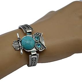 baratos Pulseiras Vintage-Mulheres Turquesa Bracelete Retro Coruja senhoras Boêmio Étnico estilo ocidental Liga Pulseira de jóias Prata Para Diário