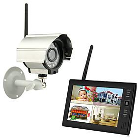 """billige Sikkerhedssystemer-nye trådløse 4-kanals quad dvr 1 kameraer med 7 """"TFT-LCD-skærm hjem sikringssystem"""