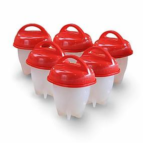 voordelige Life VC-6pcs siliconen eierkoker hard gekookt ei zonder schaalkeuken kookgereedschap