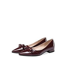 voordelige Damesschoenen met platte hak-Dames Nappaleer Zomer Brits Platte schoenen Lage hak Gesloten teen Zwart / Wijn