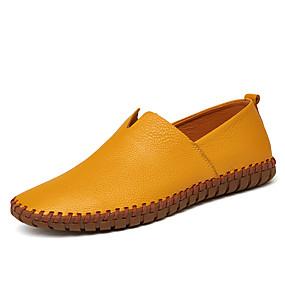 baratos Sapatilhas e Mocassins Masculinos-Homens Sapatos de couro Couro Primavera & Outono Mocassins e Slip-Ons Azul Escuro / Amarelo / Marron