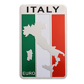 cheap Automotive Exterior Accessories-Pair 8x5cm Aluminum Italy Flag Map Badge Car Sticker Emblem Decal Decoration